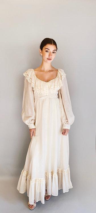 Gunne Sax 1970's White Cotton Prairie Dress