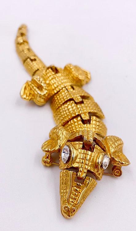 Crocodile Gold Brooch