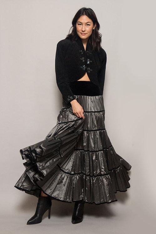 YSL Silver Taffeta Ruffled Skirt