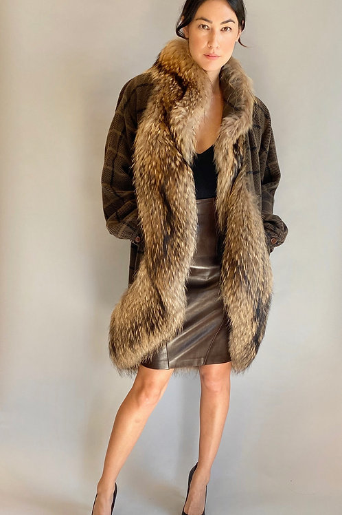 Gucci 1978 Fox Fur and Plaid Wool Coat