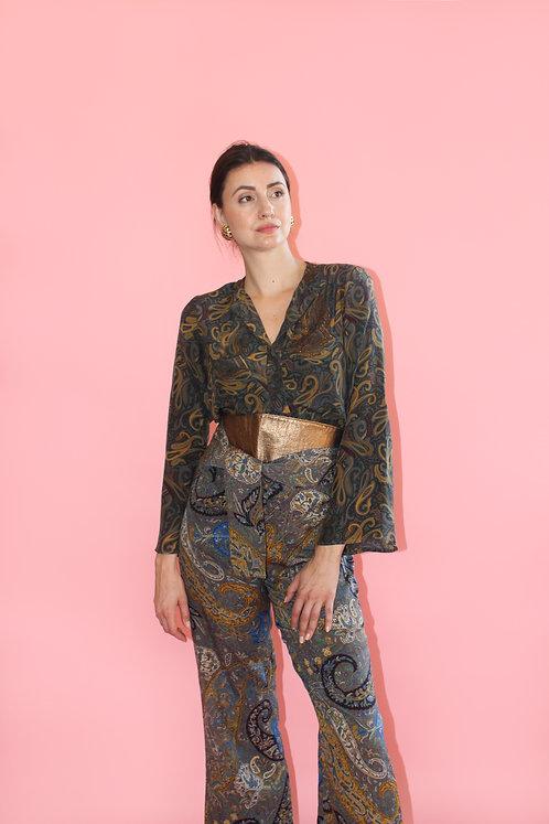 Adele Simpson Silk Paisley Pant, Blouse & Belt Set