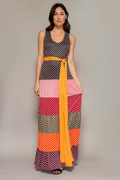 1970's Corky Craig Polka Dot Color Block Dress