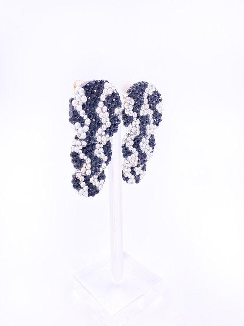Richard Kerr Black & White Drop Clip-on Earrings
