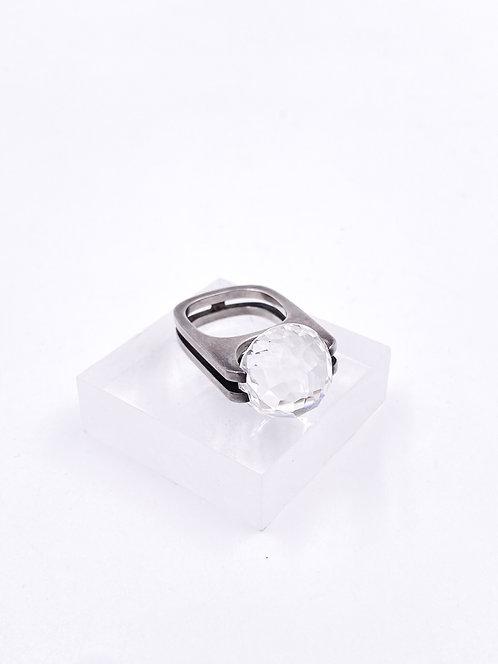 60's Sterling Silver Modernist Crystal Ring