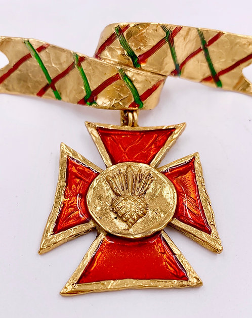 Yves Saint Laurent Rive Gauche Maltese cross Enamel Ribbon Brooch