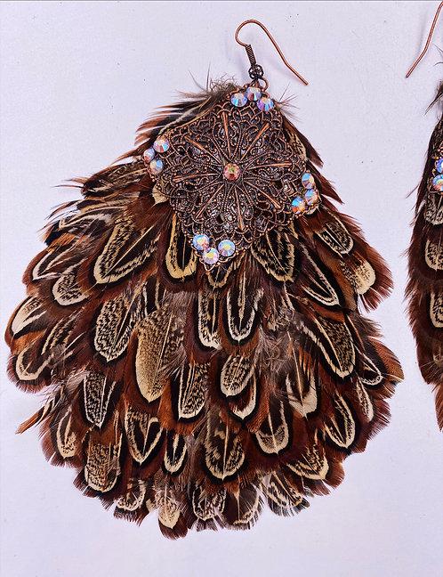 Large Feathery Metal & Crystal Earrings