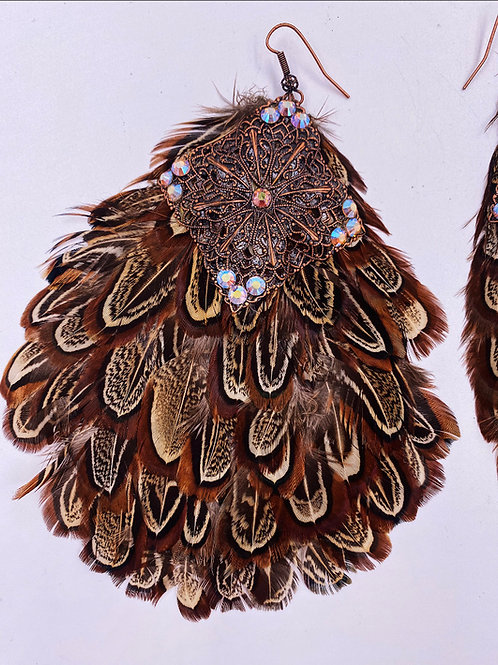 Large Feathery Metal & Crystal Earrings