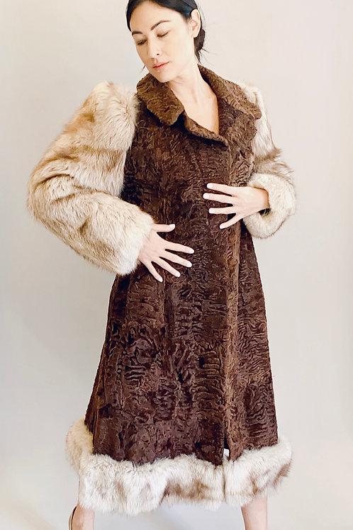 1980's Christian Dior Fox Fur & Persian Lamb Fur Coat
