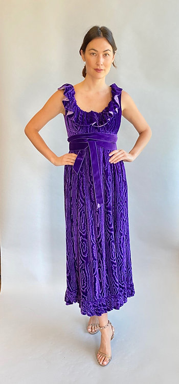Donald Brooks Boutique Purple Moire Velvet Dress