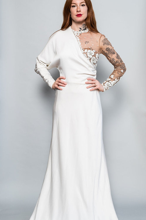 Illusion Beaded Bodice Gown with Train