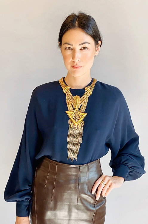 Bernard Paris Gold Beaded Necklace, Navy Silk Blouse
