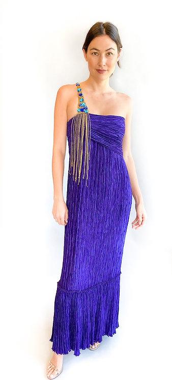 Mary McFadden Pleated One Shoulder Gold Fringe Dress