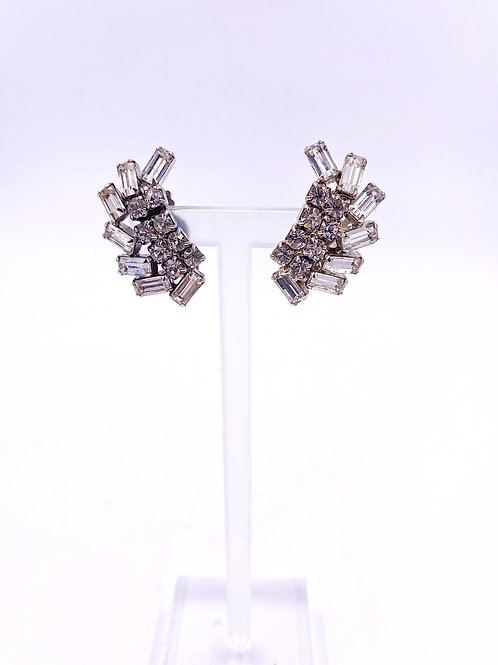 Weiss Crystal Climber Clip Earrings