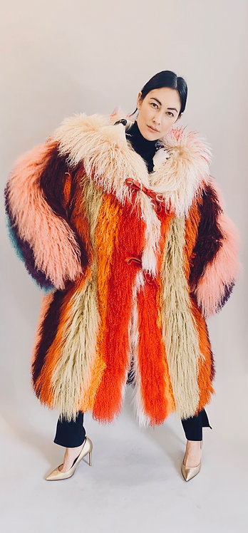 Rainbow Striped Mongolian Fur Hooded Coat