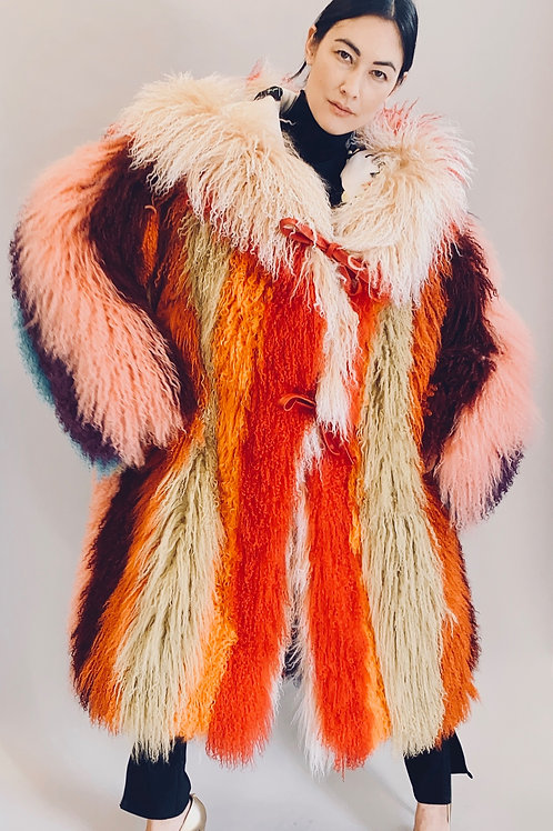Rainbow Striped Mongolian Fur Hooded Coat