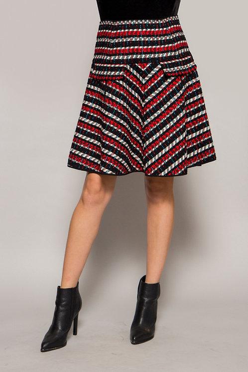 1980's Oscar De La Renta Tweed red/white/black Skirt