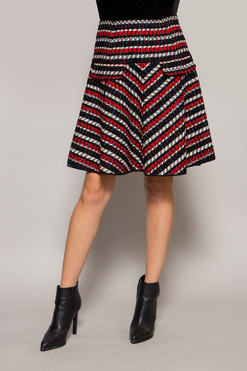 1980's Oscar De La Renta Tweed red/white/black Skirt