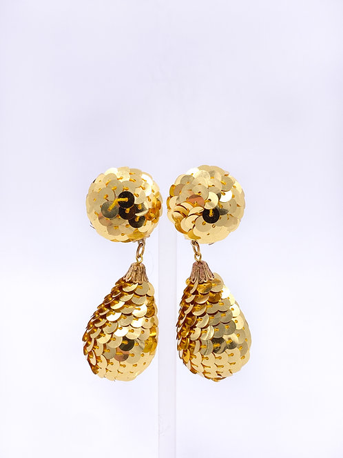 Gold Sequin Drop Clip-on Earrings