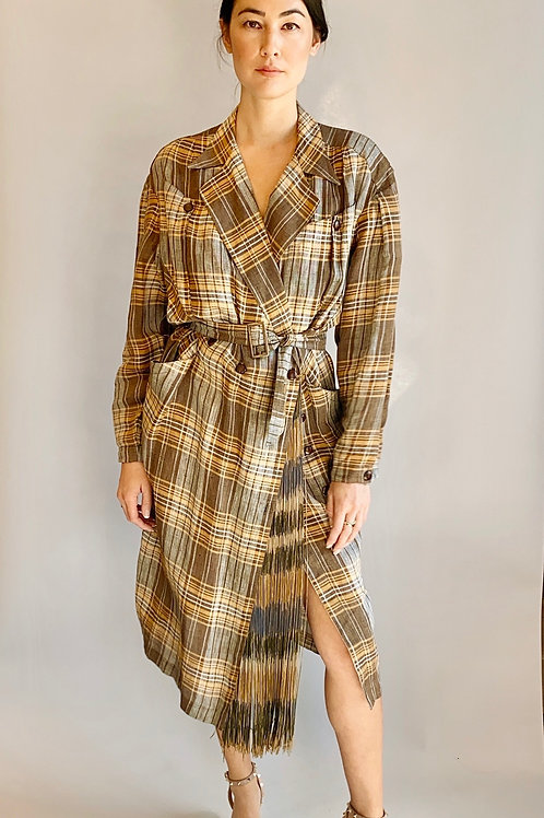 Thierry Mugler Plaid & Fringe Belted Dress or Duster