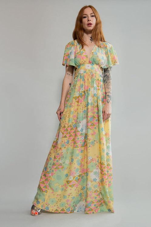 I Magnin Floral Flutter Sleeve Dress