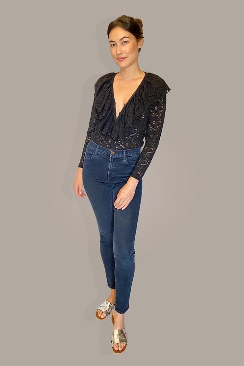 90's Black Lace Ruffle Bodysuit Front View