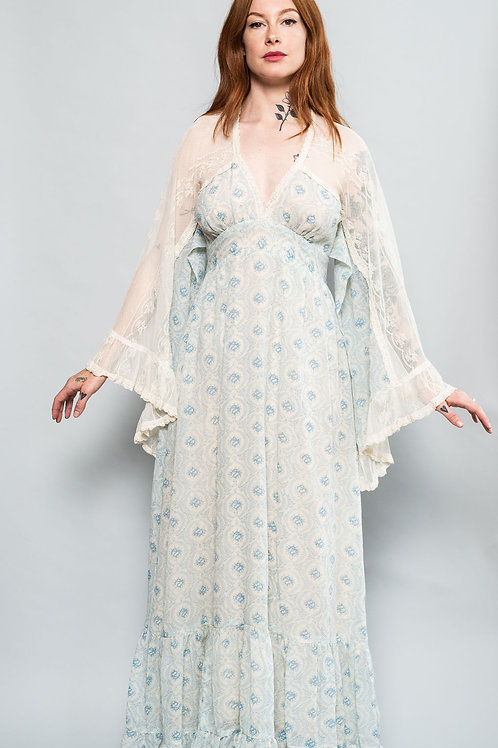 Gunne Sax Printed and Lace Prairie Dress