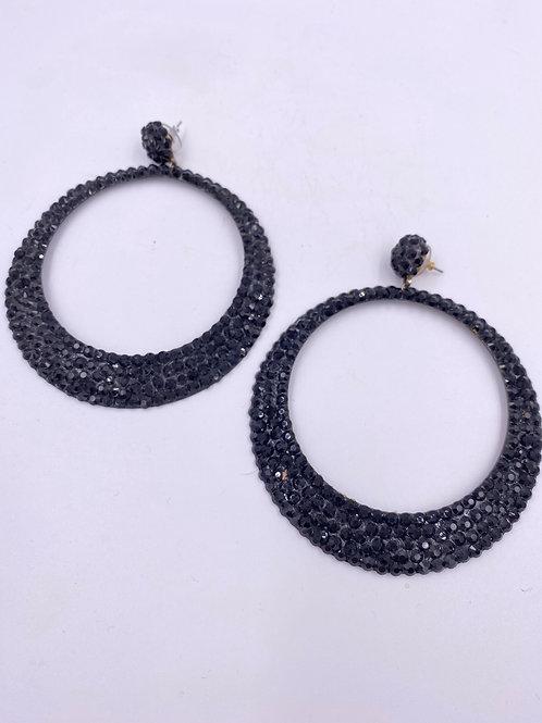 VTG 1980's Black Rhinestone Disco Hoop Earrings