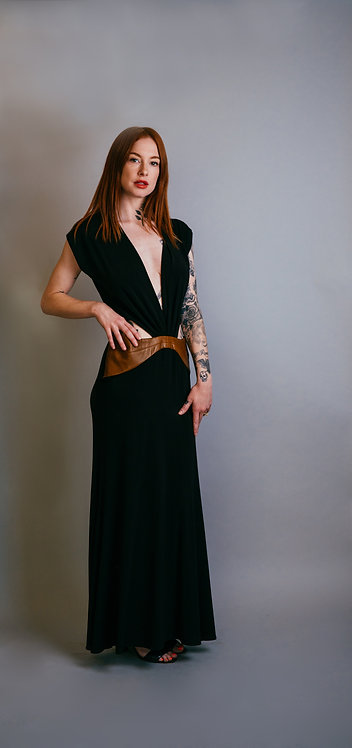 French 90's Cut Out Jersey Gown w/Leather inserts