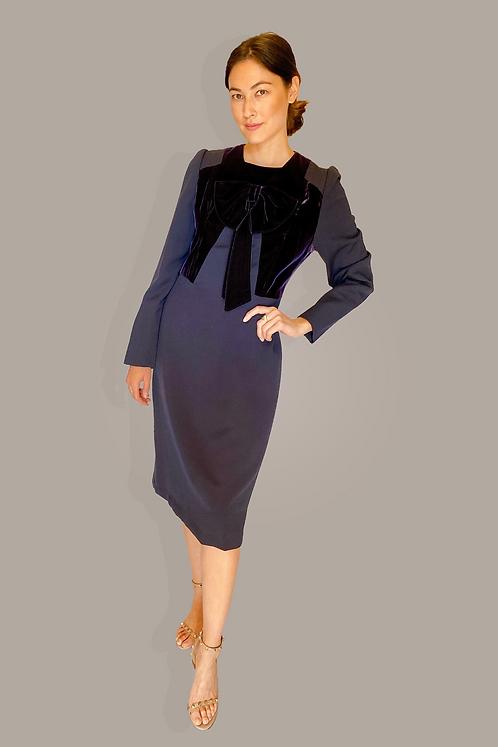 Adele Simpson Velvet Bow Dress Front View