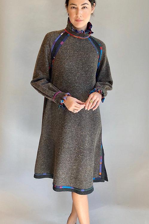 Koos Van Den Akker Wool Tweed High Neck Dress