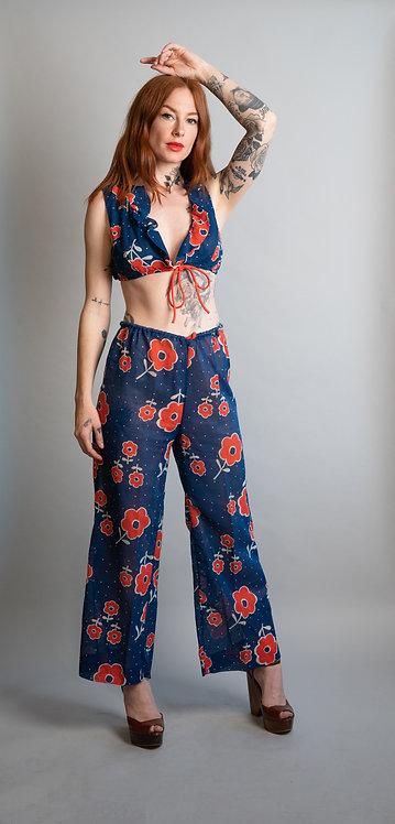 70's Cotton Floral Print Crop Top and Pant Set