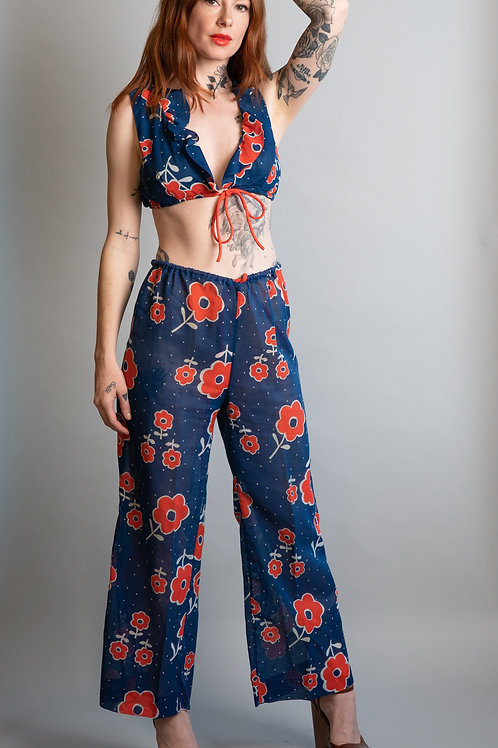 70's Cotton Floral Print Crop Top and Pant Set