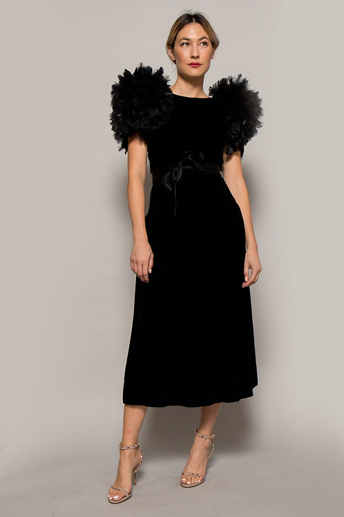 1980's Velvet Dress with Feathered Shoulders