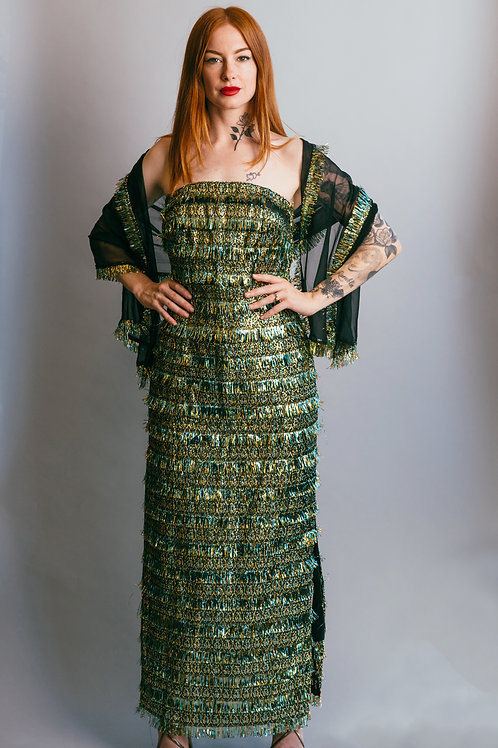 80's Strapless Metallic Tinsel Eyelash Gown