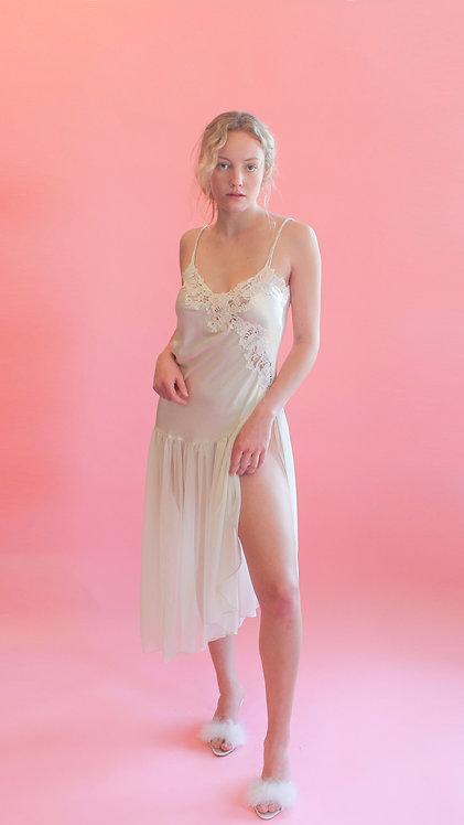 White Silk & Chiffon Night Dress