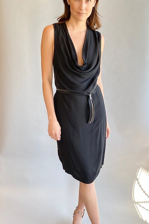 Helmut Lang Jersey Cowl Neck W/ Zipper Belt Dress