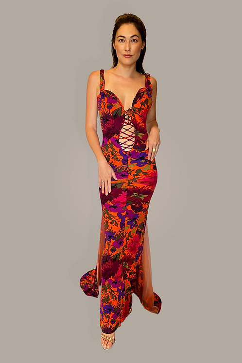 Custom Made Floral Print Gown Front View