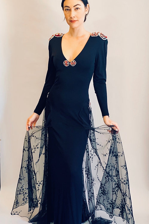 1970's Hollys Harp Black Jersey & Lace Train Dress With Pearls & Beading