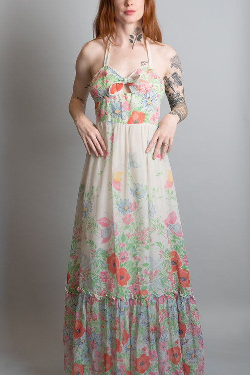 70's Cotton Butterfly Floral Dress with Ruffled Shawl