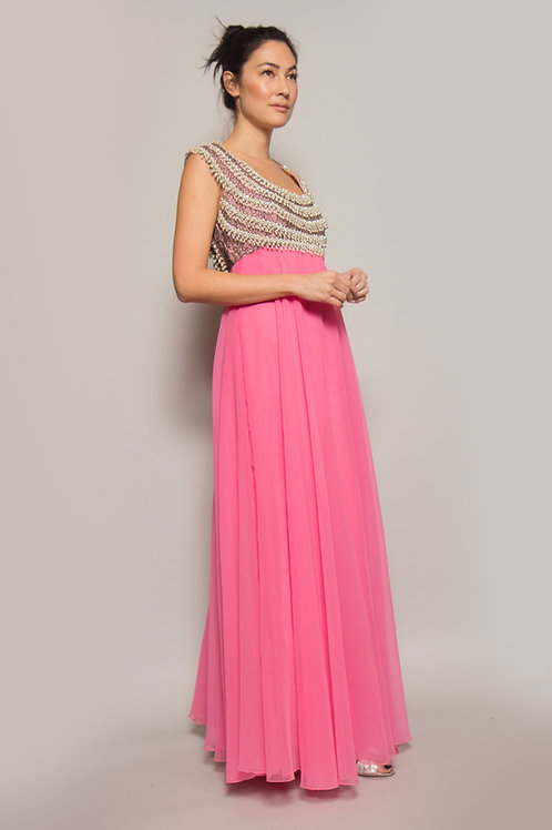 Pink Chiffon Open Back Pearl & Beaded Gown
