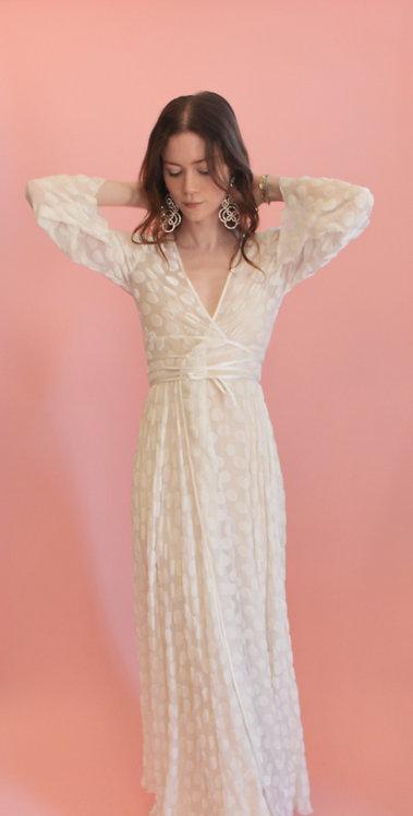 Jane Booke Silk Polka Dot Wrap Dress/Robe
