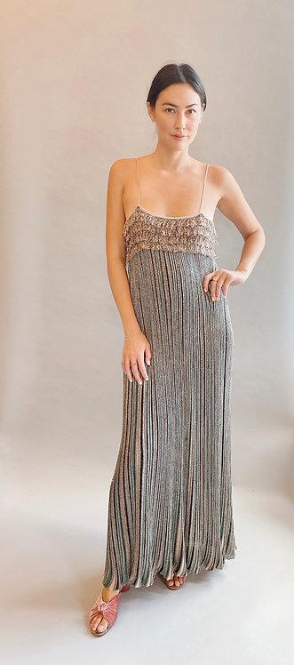 M Missoni Metallic Striped Knit Slip Dress