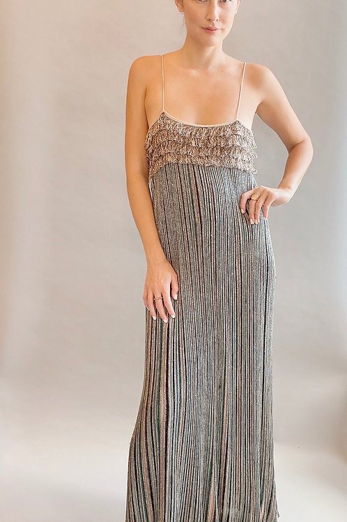 M Missoni Metallic Striped Knit Slip Dress