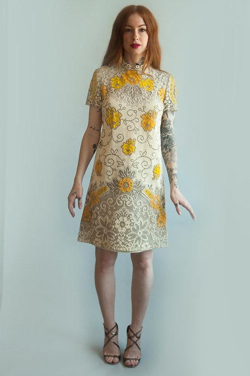 1970s Romantic Floral Print Lace Mini Dress