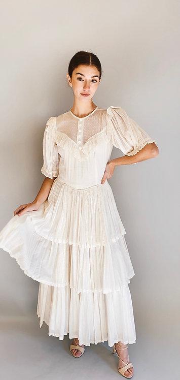 White Cotton & Lace 1970's Polka Dot Ruffled  Prairie Dress