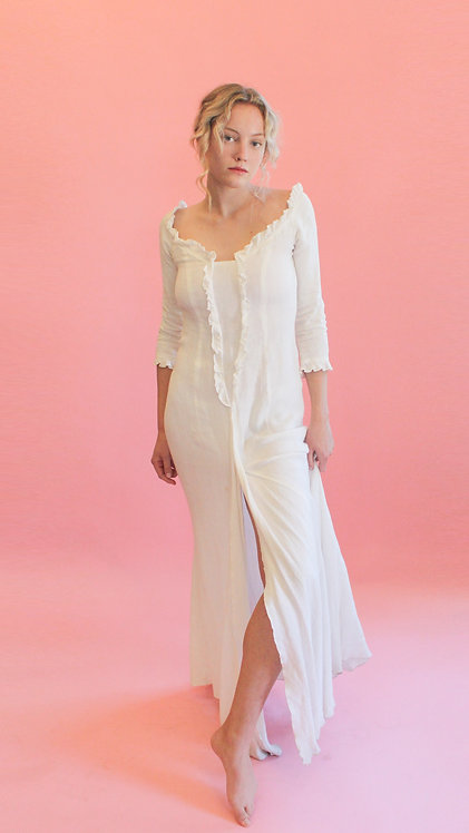 Jane Booke Linen Ruffle Gown