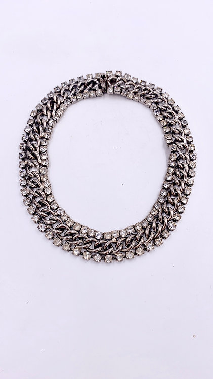 Yves Saint Laurent Chain Link with Crystal Choker Necklace
