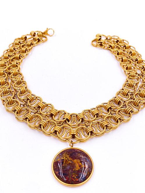 Stone Pendant Gold Chain Necklace