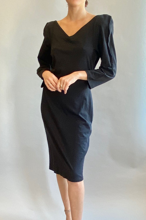 Thierry Mugler Black Cotton Structured Dress