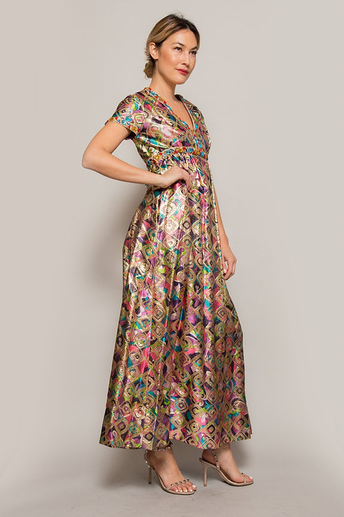 1960's Malcom Starr Metallic Brocade Jeweled Gown